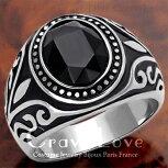 【メンズリング・男の指輪】唐草模様メンズステンレスリング/ブラックダイヤ色/指輪【Crave-LoveCostumeJewelryBijouxParisFrance】