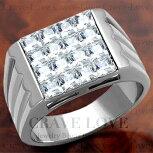 【メンズリング・男の指輪】豪華デザインメンズステンレスリング/指輪/RM21ダイヤモンドカラー/シルバープラチナカラーリング【Crave-LoveJewelryBijouxParisFrance】