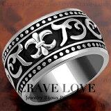 【メンズリング 男の指輪 メンズアクセサリー】フルール・ド・リス メンズ シルバー ステンレス リング 指輪 唐草模様 幅広 太い ボリュームのある 黒 ブラック 大きいサイズ もあります。【 Crave-Love Bijoux Paris 】