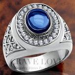 【メンズリング・男の指輪】豪華デザインメンズステンレスリング/指輪/RM14/サファイアカラーダイヤモンドカラープラチナカラーシルバーカラー【Crave-LoveJewelryBijouxParisFrance】