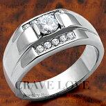 【メンズリング・男の指輪】豪華デザインメンズステンレスリング/指輪/RM8-S/大粒キュービックジルコニア(ダイヤモンド色)シルバーカラープラチナカラー【Crave-Love】
