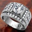 【メンズリング・男の指輪・メンズアクセサリー】豪華デザイン メンズ ステンレス リング/指輪/RM20 キュービックジルコニア(ダイヤモンド色)プラチナシルバー色 / 幅広 / 大きいサイズもあります。【 Crave-Love メンズジュエリー 】