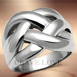 素敵な編み込みデザインステンレスリング/指輪/Woven-Ring【Crave-LoveCostumeJewelryBijouxParisFrance】