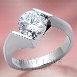 曲線デザインソリティアステンレスリング/指輪キュービックジルコニア(ダイヤモンド色)/プラチナ色/女性レディースリング大きいサイズもあります。
