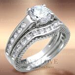 重ね着けステンレス2連リング/2本組/指輪/st042連リング/2本セット/2個組/重ね付け/キュービックジルコニア(ダイヤモンド色)/プラチナ色/女性レディースリング大きいサイズもあります。結婚式や誕生日プレゼントにも・・