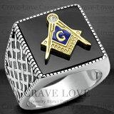 【メンズリング 男の指輪 メンズアクセサリー】メンズ フリーメイソン オニキス ステンレス リング FR12 指輪 秘密結社 メソニック   プラチナ シルバー カラー   メンズ ファッションリング 大きいサイズもあります。【 Crave-Love Paris 】