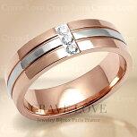 クリスタルピンクゴールドステンレスリング/指輪/幅広スワロフスキークリスタル(ダイヤモンド色)/K18ゴールドカラー/プラチナシルバーカラー/女性レディースリング大きいサイズもあります。【Crave-Loveコスチュームジュエリー】