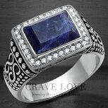 【メンズリング・男の指輪・メンズアクセサリー】ソーダライトメンズステンレスリング/天然石/指輪メンズリング大きいサイズもあります。【Crave-LoveJewelrybijouxParis】