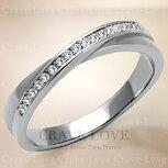 おしゃれな一文字クロスステンレスリング|指輪キュービックジルコニア(ダイヤモンド色)/プラチナ色レディースリング大きいサイズもあります。トラベルジュエリー・結婚式・誕生日プレゼントにも・・【Crave-Loveクレィヴラブ】