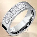 8ストーンプリンセスカットステンレスリング|指輪キュービックジルコニア(ダイヤモンド色)|プラチナ色レディースリング大きいサイズもあります。トラベルジュエリー・誕生日プレゼントにも・・【Crave-LoveJewelrybijouxParis】