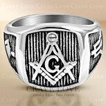 【メンズリング・男の指輪・男性】フリーメイソンシンボルギルドメンズリング/FR13/指輪/ステンレスリング/秘密結社/イルミナティ/メソニック/プラチナシルバー色/幅広/大きいサイズもあります。
