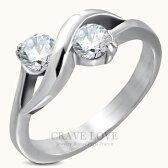 ウエーブ曲線2ストーンシルバーステンレスリング指輪女性レディースファッションジュエリーアクセサリートラベルジュエリー誕生日プレゼント結婚式にも・・大きいサイズもあります。【Crave-LoveJewelrybijouxParis】