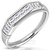 シンブルでちょっぴり豪華なお洒落一文字ステンレスリング一文字リング一文字指輪レディースリング指環女性指輪ファッションリング大きいサイズもありますトラベルジュエリー誕生日プレゼント結婚式にも【Crave-LoveBijouxParis】