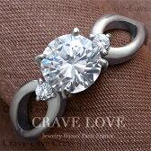 3ストーンスプリット曲線ステンレスリング/指輪/レディースリング【Crave-LoveJewelryBijouxParisFrance】【ビジューbijuo】