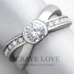 交差するデザインのステンレスクロスリング/指輪/レディースリング/【Crave-LoveJewelrybijouxParisFrance】【ビジューbijuo】