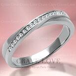 おしゃれな一文字クロスステンレスリング|指輪キュービックジルコニア(ダイヤモンド色)|プラチナ色レディースリング大きいサイズもあります。トラベルジュエリー・誕生日プレゼントにも・・【Crave-LoveJewelrybijouxParis】