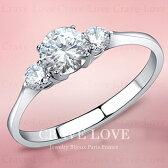 3ストーントリロジーシルバーステンレスリング指輪女性レディースファッションジュエリーアクセサリー大きいサイズもあります。トラベルジュエリー誕生日プレゼント結婚式にも・・【Crave-LoveJewelrybijouxParis】