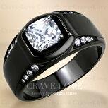 【メンズリング男の指輪メンズアクセサリー】豪華デザインブラックステンレスメンズリングRM29おしゃれ黒色BLACK|指輪ボリューム感幅広立て爪ファッションリング大きいサイズもあります。【Crave-LoveBijouxParis】