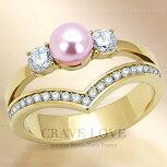 ピンクパールゴールドステンレスレディースリング指輪合成真珠(シンセティックパール)|女性アクセサリーレディースファッションリング大きいサイズもあります。結婚式パーティープレゼントにも・・【Crave-LoveBijouxParis】