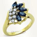 サファイアブルーカラーシルバーステンレスフラワーリング花をモチーフとしたおしゃれな海外デザインの指輪女性レディースファッションリング大きいサイズもあります。トラベルジュエリーや誕生日プレゼントなどにも・・