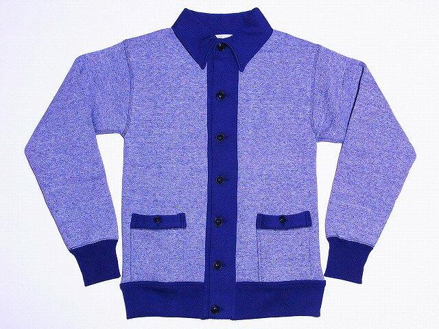 トップス, カーディガン HELLERS CAFE 1930s Laddie Coat Gray-Navy Buttoned Cotton Cardigan Sweatshirts HC-M112 (GRAYNAVY) smtb-kd