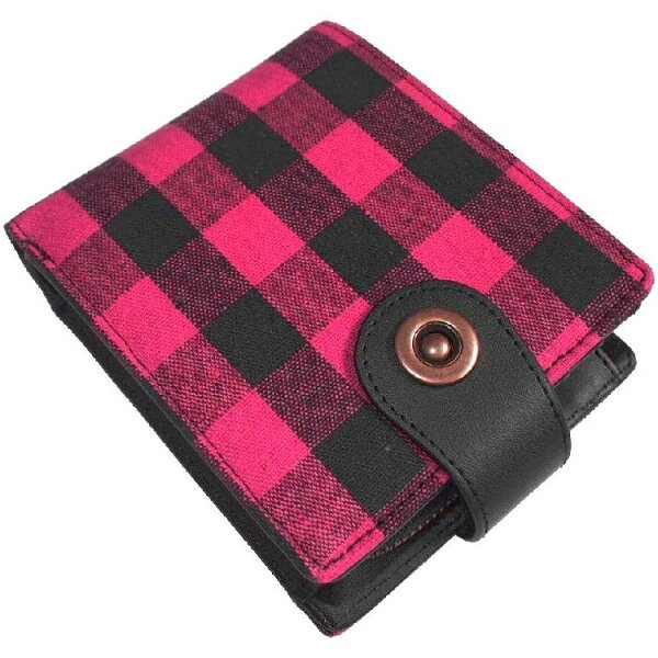 財布さいふサイフ財布メンズ財布メンズ短財布財布メンズ赤黒チェック柄二つ折り財布カード入れ/ファスナー小銭入れ付き