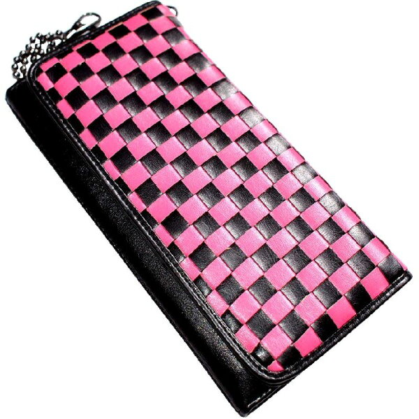 財布さいふサイフ財布メンズバイカー財布メンズメンズサイフ財布二つ折り財布チェーン/鎖付き編み込みブロックチェック柄ピンク