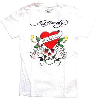 Ed Hardy ED HARDY埃德哈迪日本許可產品短袖T恤LOVE KILLS SLOWLY愛kill白