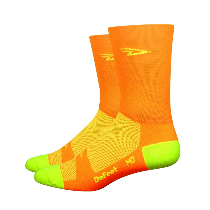 メンズウェア, ソックス DeFeet)Aireator 5 Hi-Top DC D-Logo Hi-Vis Orange L