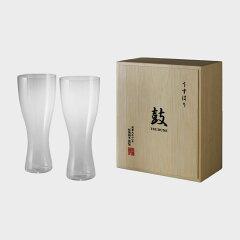 松徳硝子/薄いうすはりグラス/ ピルスナー [ビールグラス] 鼓 2個セット 木箱入 [うすは…