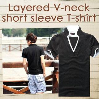 Tシャツメンズ半袖スタンドカラーVネックポロシャツ無地襟袖ラインキレイめ細身カジュアル