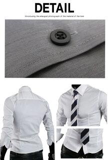 ワイシャツメンズカジュアルシャツ長袖無地ロールアップトップスビジネスコーデ黒青白グレー春夏秋メンズファッション