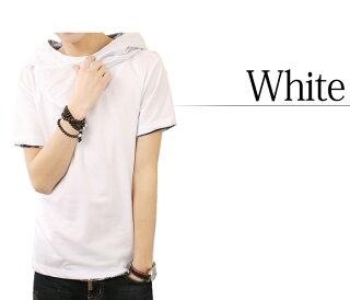 Tシャツメンズパーカー半袖無地アフガンネックトップスコーデグレー黒白春夏秋メンズファッション
