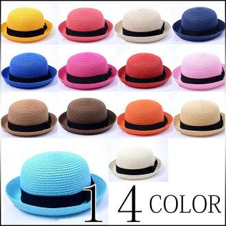 可愛選擇大小和顏色 2 點集的草帽秸稈草帽帶絲帶秸稈帽子草帽草編帽子草帽稻草帽子度假村秸稈帽子時尚草帽