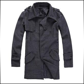 長袖外套男裝外套大衣外套半場外套固體外套肩章外套按鈕外套清潔他們外套標準外套休閒風衣業務大衣外套大衣冬季外套 02P09Jan16