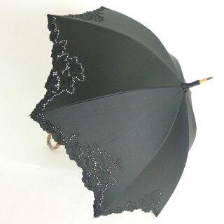 日傘レディース純パラソルUV加工長傘綿サテン生地カットワーク刺繍傘ファッション雑貨女性用コーデ日焼け対策