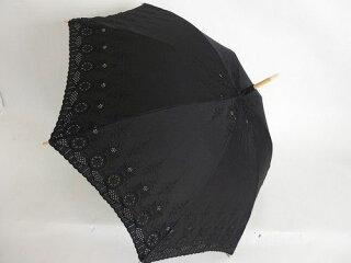 日傘レディース純パラソルUV加工長傘綿サテン幾何柄エンブレース傘ファッション雑貨女性用コーデ日焼け対策