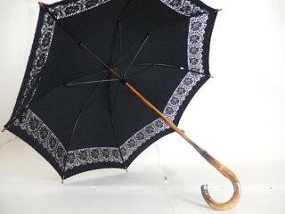 日傘レディース純パラソルUV加工1本曲り骨傘綿サテンインケミカルレース刺繍傘ファッション雑貨女性用コーデ日焼け対策