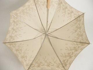 日傘レディース純パラソルUV加工スライドショート傘綿サテン葉柄エンブレース刺繍傘ファッション雑貨女性用コーデ日焼け対策