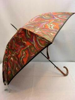 雨傘レディース長傘婦人甲州産ほぐし織り墨流し柄日本製国産品ジャンプ長雨傘傘女性用コーデ