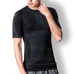 加圧インナー加圧シャツメンズトレーニングウェア姿勢矯正加圧Tシャツエクササイズ猫背矯正アンダーシャツ半袖黒青インナーMLXL