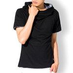 パーカーメンズtシャツ半袖無地アフガンネックトップスコーデカットソートップス黒グレーMLXL