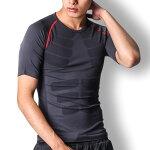 コンプレッションインナートレーニングウェアメンズコンプレッションウェアコンプレッションシャツアンダーシャツ半袖加圧シャツグレーMLXL