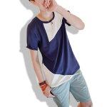Tシャツメンズレディースバイカラーカットソー半袖Uネックプリントトップスキレイ目コーデ青春夏秋メンズファッション