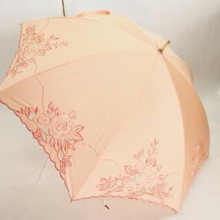 日傘レディース傘晴雨兼用スライドショート綿サテン刺繍カットワーク雨傘ファッション雑貨女性用コーデ日焼け対策
