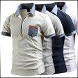 ポロシャツ メンズ トップス 半袖 無地 切替 カットソー プルオーバー 胸ポケット きれいめ カジュアル ゴルフウエア 大きいサイズ メンズファッション
