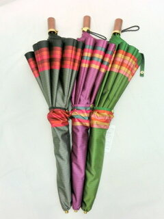 折り畳み傘レディース傘雨傘折畳傘婦人甲州産先染朱子格子日本製国産品2段式折畳傘ファッション雑貨小物折りたたみ傘女性用