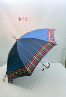 傘レディース雨傘長傘婦人甲州産先染め朱子格子軽量金骨ジャンプ雨傘ファッション雑貨女性用雨具雨