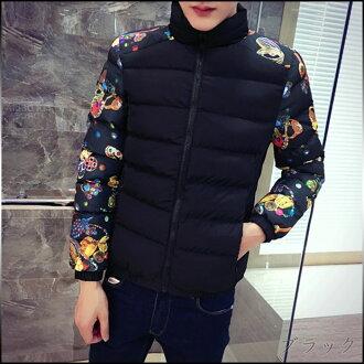 夾克男式服裝棉夾克拉鍊簡單休閒時尚大尺寸列印棉外套