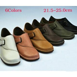 コンフォートシューズレディースレディース靴本革柔らかカップインソールベルトフラットシューズ小さいサイズ大きいサイズ日本製国産品靴